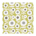 Chartreuse Graphic Flower Print Fabric - Modern graphic floral print in lime green, gray & white that will put some spring in your decor's stepRecover your chair. Upholster a wall. Create a framed piece of art. Sew your own home accent. Whatever your decorating project, Loom's gorgeous, designer fabrics by the yard are up to the challenge!
