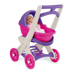 American Plastic Toys - American Plastic Toys On the Go Doll Stroller Multicolor - 20250 - Shop for Tents and Playhouses from Hayneedle.com! Little girls love to play pretend - from dress-up to dolls. Indulge her creativity with the American Plastic Toys On the Go Doll Stroller. This cute colorful stroller is equipped with everything she needs to tote her favorite baby doll. Versatile and entertaining this accessory can be used three different ways. Use it with the carrier as a buggy or remove the carrier flip up the seat and it becomes a stroller. The detachable carrier also doubles as a rocking cradle. There's a handy storage rack beneath the seat for clothes toys or supplies. With so many options this doll stroller is a perfect playtime accessory for little gals on the go. Assembly instructions included. About American Plastic ToysSince 1962 American Plastic Toys has proudly manufactured safe toys in the United States. The company's product line includes more than 125 different items ranging from sand pails and sleds to wagons and play kitchens. American Plastic Toys assembles every one of the toys in its product line in the United States. Most of the components in American Plastic Toys products are molded in the company's own plants or purchased from U.S. companies. Toys with imported components (mostly sound components and fasteners - no painted components) represent only 25 percent of the entire product line. Every American Plastic Toys product is tested by at least one independent U.S. safety-testing lab to ensure that it complies with applicable safety standards.