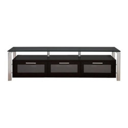 Plateau Decor 71 Inch TV Stand in Black/Black and Silver - Silver metal perks up the otherwise all black Plateau Decor 71 Inch TV Stand in Black/Black and Silver and adds a high tech look to complement your large flat panel TV. The large base cabinet is made of black wood veneers and offers three compartments for your electronic equipment, game controllers, or DVDs. Each front door opens on precision hinges and features a frosted glass front panel that subtly disguises the contents. The shelf above is ideal for your frequently used components.The expansive top shelf is made of 0.5 inch thick black safety glass with smooth, polished edges. The frame is made of silver welded heavy gauge steel tubes for strength, stability, and industrial style. The back panel is ventilated and features cord management openings for your convenience. The wood cabinet arrives to you already built, so the rest of the assembly process is quick and painless.About Plateau CorporationPlateau Corporation utilizes the finest materials to provide you with state of the art audio and video home theater furniture systems. Entertainment centers created by Plateau Corporation are a fusion of innovative engineering and contemporary design. Their product list includes entertainment centers, media storage, TV armoires, and TV stands that are all are easy to assemble, incredibly durable, and specially made to highlight your audio/video system. Their unique entertainment centers can grow as your system grows.