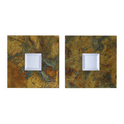 Uttermost - Ambrosia Squares Mirror, Set 2 - Who knew oxidized copper could look so beautiful! At only 4-inches wide, this pair of square copper mirrors adds magic to any small space. Make a room seem larger, or add a decorative touch to your entryway by creating a panel of six. And because no two designs are ever alike, you get an original artwork for your home.