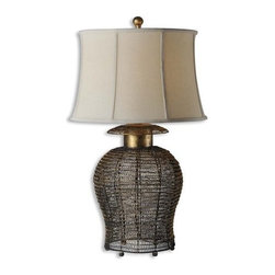 Uttermost - Uttermost 27650 Single Light Woven Metal Birdcage Table Lamp Rickma Col - Uttermost 27650 Matthew Williams Rickma LampAntiqued gold leaf finish on a woven metal base with black undertones. The round semi bell shade is an ivory linen textile with natural slubbing.Features: