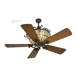 "Craftmade - Craftmade CR52PR Cortana 54"" Traditional Ceiling Fan - The Cortana is a contemporary update of an Old World chandelier. The fixed crystals fan has a lightness and shimmering elegance.Energy Information:"