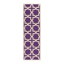 "Safavieh - Callum Hand Tufted Rug, Purple / Ivory 2'6"" X 8' - Construction Method: Hand Tufted. Country of Origin: India. Care Instructions: Vacuum Regularly To Prevent Dust And Crumbs From Settling Into The Roots Of The Fibers. Avoid Direct And Continuous Exposure To Sunlight. Use Rug Protectors Under The Legs Of Heavy Furniture To Avoid Flattening Piles. Do Not Pull Loose Ends; Clip Them With Scissors To Remove. Turn Carpet Occasionally To Equalize Wear. Remove Spills Immediately. Ancient symbols combine to create a chic interpretation of transitional Moroccan style in the beautifully textured Sahara area rug. Hand-tufted of superior wool pile and crafted to endure, this simple but striking rug contrasts plush and pile textures for rich dimension."