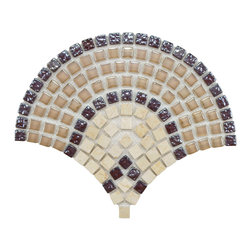 Somertile - SomerTile Reflections Arch Spice Glass and Stone Mosaic Tiles (Case of 10) - These mosaic tiles from Somertile feature a glass,metal and stone construction and a unique,fan-shaped design. The mixed materials offer an intriguing visual appeal for accenting or creating a stunning mosaic design in conjunction with other mosaics.