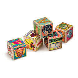 XYZ Alphabet Blocks - These aren't your traditional snooze-fest wood alphabet blocks. I love the sense of humor and fantastic design displayed here: S is for Sunburn, for example, and Y is for Yoga.