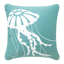 Wabisabi Green - Jellyfish Eco Pillow, Shell White/Aqua, Shell White/Aqua, 18x18, Without Insert - The delicate-tendriled jellyfish undulating through the ocean waters is one of nature's most strangely graceful forms. Hand-printed in white across an aqua throw pillow, it is an eccentric, contemporary design that's still true to its ocean roots. Soft colors and flowing lines give this ecofriendly pillow a feminine feel that would contrast well with rustic beach-style furnishings.