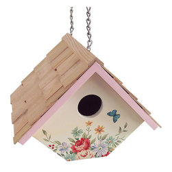 "Home Bazaar - Printed Wren Hanging Birdhouse - Pastel Bouquet - Cream Background - This fully, functional house is designed to accommodate house wrens, one of the only species that enjoy a swinging nest box! Topped with western red cedar and decorated with a pastel bouquet design, the house can be hung on its sturdy brass chain or fixed to a fence post with its pre-installed key-hole hardware. The slide-out, bottom panel can be removed for easy yearly cleaning. Item Dimensions: 6.5"" H x 8.25"" W x 6.5""D."