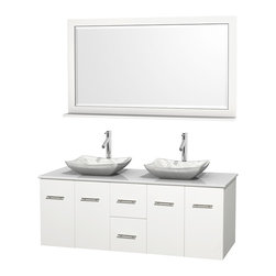 """Wyndham Collection - Centra 60"""" White Double Vanity, White Man-Made Stone Top, Carrera Marble Sinks - Simplicity and elegance combine in the perfect lines of the Centra vanity by the Wyndham Collection. If cutting-edge contemporary design is your style then the Centra vanity is for you - modern, chic and built to last a lifetime. Available with green glass, pure white man-made stone, ivory marble or white carrera marble counters, with stunning vessel or undermount sink(s) and matching mirror(s). Featuring soft close door hinges, drawer glides, and meticulously finished with brushed chrome hardware. The attention to detail on this beautiful vanity is second to none."""