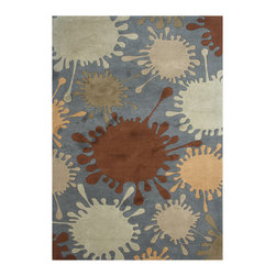 Alliyah Rugs - Smoke Grey & Bombaybrown Contemporary Rug - Alliyah Handmade New Zealand Blend Wool Rug with Smoke Grey & Bombay brown Color. Antique washed
