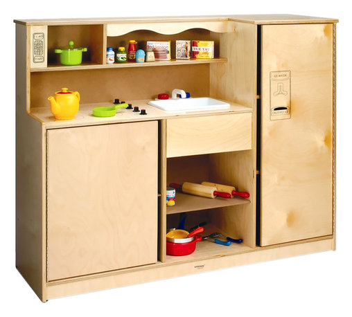 "Whitneybrothers - Whitney Brothers Preschool Daycare Kid Size Pretend Play Toy Kitchen Combo - This kitchen is the heart of the home and the heart of a play area. Always a favorite, the kid-sized Preschool Kitchen Combo stirs a childs imagination. Open access microwave, refrigerator with ice maker, stove-top range, storage shelves, deep sink and plenty of storage. Built from sturdy birch laminate and redesigned with new top-to-bottom continuous hinges and wider gaps between the frame and doors to prevent pinching little fingers.Dimension: 48 1/2"" wide x38 1/2"" high x15"""" deep.Weight: 85 lbs. Truck NH. GreenGuard Certified. Made in USA. Lifetime Warranty."