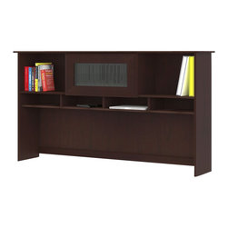 """Bush - Bush Cabot 60"""" Hutch in Harvest Cherry - Bush - Hutch - WC3143103 - The Bush Cabot Collection 60"""""""" Hutch adds additional storage space to the Cabot Collection 60"""""""" L-Desk or the 60"""""""" Corner Desk. Available in Harvest Cherry finish the Cabot Hutch offers simple elegant styling with contemporary touches like flip-open doors on storage space wire management system and open work-in-process bays to keep you organized."""