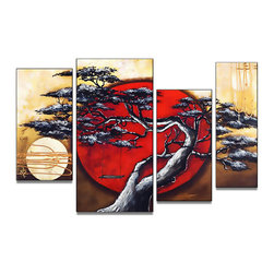 """Fabuart.com - """"Swinging in the Sunset"""" - Modern Japanese Bonsai Artwork - 40 x 32 in - This beautiful Art is 100% hand-painted on canvas by one of our professional artists. Our experienced artists start with a blank canvas and paint each and every brushstroke by hand."""
