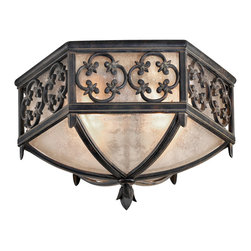 Fine Art Lamps - Costa del Sol Outdoor Flush Mount, 324882ST - This impressive fixture brings your decor stately substance with subtle Spanish flair. The frame, crafted of Marbella wrought iron in a quatrefoil design, fits over iridescent textured glass.