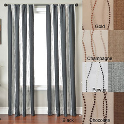 None - Vastitude Stripe Rod Pocket 96-inch Curtain Panel - This modern,elegant Vasitude striped curtain panel combines a solid panel with semi-sheer panel lengths. This unlined curtain is available in black,pewter,chocolate,gold,and champagne. These curtains include a rod pocket panel for hanging with ease.