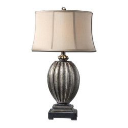 Uttermost - Diveria Table Lamp - Add a little Hollywood chic to your decor with this very sexy table lamp. The antique silver leaf finish is burnished with a black distressing and a gray glaze. This is glamour all grown up.