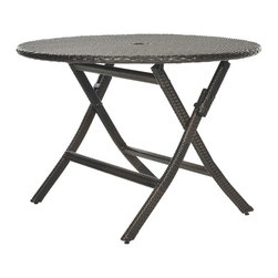 Safavieh - Safavieh Outdoor Living Brown PE Wicker Round Folding Table - Made from PE wicker, this round folding table brings a resort-like ambiance outdoor living to any home. This table is great as a main dining table on any patio or deck and easily folds flat for storage