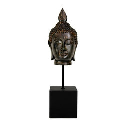 Oriental Unlimted - 19 in. Burmese Buddha - An interesting and unique Asian style decorative accessory. This design is Burmese, with the flaming pointed top knot and beautifully knotted hair. Reproduction Bronze Buddha head statue in Burmese style. Mounted on a black block pedestal with long stand. Beautiful, detailed resin casting with burnished antiqued patina. 5 in. W x 5.5 in. D x 19 in. HAdd an element of East Asian beauty and charm to you living room, bedroom or studio. Decorate your work space with an attractive Buddha reproduction. These are wonderful, well crafted designs, from a simpler time when art was an important part of daily life.