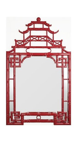 Chinese Chippendale Mirror, Red - I don't know if I could ever bring myself to spend this kind of moolah on an accent, but I'm in love with this pagoda mirror in the bright red lacquer finish. It's oh-so-Regency!
