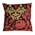 Pillow Decor - Pillow Decor - Bohemian Damask Brown, Red and Ocher Throw Pillow - Bring a splash of playful color into your bedroom, living room or sun room. This beautiful print has a chocolate brown base with a red and ocher botanical design. The back of the pillow is a solid shimmering brown. This contemporary pillow is bold and fresh, and is a great highlight in any room.