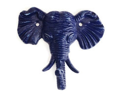 Elephant Wall Hook - Elephant Wall Hook, children's coat hook, towel hanger, key hook, jewelry display, jungle, safari, eclectic, modern decor in distressed navy.
