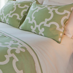 Crane & Canopy - Geometric Print Signature Designer Duvet Cover, The Noe Green - Perfect for the spring with its green color, this Moroccan-inspired contemporary duvet has geometric sophistication. In our Signature style, the two-toned cover gives you the perfectly made bed instantly.