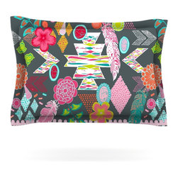 """Kess InHouse - Anneline Sophia """"Aztec Boho Tropical"""" Gray Rainbow Pillow Sham (Cotton, 40"""" x 20 - Pairing your already chic duvet cover with playful pillow shams is the perfect way to tie your bedroom together. There are endless possibilities to feed your artistic palette with these imaginative pillow shams. It will looks so elegant you won't want ruin the masterpiece you have created when you go to bed. Not only are these pillow shams nice to look at they are also made from a high quality cotton blend. They are so soft that they will elevate your sleep up to level that is beyond Cloud 9. We always print our goods with the highest quality printing process in order to maintain the integrity of the art that you are adeptly displaying. This means that you won't have to worry about your art fading or your sham loosing it's freshness."""