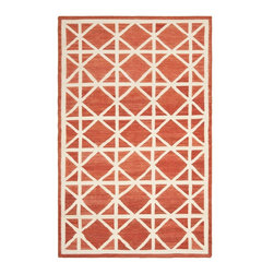 Safavieh - Contemporary Dhurries 3'x5' Rectangle Red-Ivory Area Rug - The Dhurries area rug Collection offers an affordable assortment of Contemporary stylings. Dhurries features a blend of natural Red-Ivory color. Flat Weave of Wool the Dhurries Collection is an intriguing compliment to any decor.