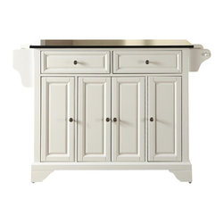 Crosley Furniture - Crosley Furniture LaFayette Solid Black Granite Top Kitchen Island in White - Crosley Furniture - Kitchen Carts - KF30004BWH - Constructed of solid hardwood and wood veneers this kitchen island is designed for longevity. The beautiful raised panel doors and drawer fronts provide the ultimate in style to dress up your kitchen. Two deep drawers are great for anything from utensils to storage containers. Behind the four doors you will find adjustable shelves and an abundance of storage space for things that you prefer to be out of sight. Style function and quality make this mobile kitchen cart a wise addition to your home.