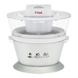 T-Fal/Wearever - T-Fal Ice Cream Maker 1qt - T-Fal Ice Cream Maker - A fun way to make treats for the family. Makes up to 1 QT. Aluminum double wall insulated gel canister. Makes Ice Cream in about 20-30 minutes. Transparent cover with opening to easily add ingredients. Includes TFAL Recipes. 6 Watts