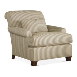 Baker Furniture - Roosevelt Chair - This chair has a tight rolling back and a kidney pillow over a loose seat. Abbreviated roll arm. Square taper leg with narrow fluting.