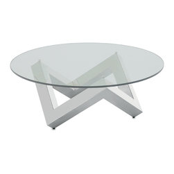 Nuevo Living - Como Coffee Table - Why settle for so-so when you can grace your space with a work of modern art? This angular base of brushed stainless steel is strong, stylish and distinctive — the perfect foil for a round glass top.