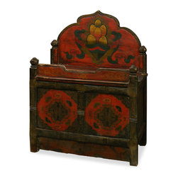 "China Furniture and Arts - Tibetan Style 2-Door Cabinet - Made in the exotic Tibetan style, this wooden cabinet displays the liveliness of Tibetan art. Exuberant and bold, this piece is perfect to accent any setting and makes a definite conversation starter. Features a double door compartment (26""W x 12""D x 13""H interior) for storage convenience. Handcrafted from Elmwood and painstakingly hand-painted by Tibetan artists. It is a one-of-a-kind item and will last for generations to admire."