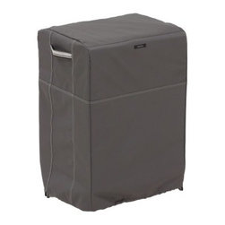Classic Accessories Ravenna Square Smoker Cover - Taupe - Baby your smoker over the winter with the Classic Accessories Ravenna Square Smoker Cover - Taupe. This cover comes in a bold taupe color to complement your patio or porch. It's double-stitched to be extra sturdy and has reinforced, padded handles for easy removal. Structured, mesh-lined vents keep mildew and wind lofting at bay. Adjustable webbing belts slide easily and two custom-colored buckles keep the smoker cover secure. The waterproof backing withstands the elements nicely. This cover is sized to fit most square smokers and includes a four-year manufacturer's warranty. Patent pending.About Classic AccessoriesFounded from small beginnings, Classic Accessories has grown in the past 30 years from a small basement operation in Seattle's Roosevelt neighborhood making seatbelt pads and steering wheel covers, to a successful and expanding company now making a wide variety of products from car to boat covers and much more. Innovative, stylish designs define products that are functional and made to last. From little details to the largest innovations, Classic Accessories is always moving forward and looking to provide cover and storage solutions to a clientele that has a passion for the outdoors, from backyard gatherings to exciting camping trips, Classic Accessories provides the products that keeps your equipment looking great all season long.