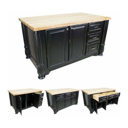 Jeffrey Alexander - Jeffrey Alexander Milanese Black Kitchen Island 63-1/8x37-1/2 x 34-1/4 Inch - Jeffrey Alexander 63 1/8 Inch x 37 1/2 Inch x 34 1/4 Inch furniture style island is manufactured using the highest furniture grade hardwoods and MDF. island features three working drawers and a tall cabinet on one side and three working drawers above additional cabinet storage on the reverse side. The drawers are dovetailed solid hardwood and are mounted on full extension soft close undermount slides. The included decorative hardware can be found in Jeffrey Alexander Milan collection (1093 1094). Coordinating posts are available in our carved wood collection(FP1). Distressed Black finish is applied by hand. 1 3/4 Inch hard maple edge grain butcher block top sold separately (ISL05 TOP 64 Inch x 38 1/2 Inch). Overall Dimensions: 63 1/8 Inch x 37 1/2 Inch x 34 1/4 Inch Dimensions taken from the widest point Finished in Distressed Black (finish applied by hand)  All Materials used meet California CARB2 Requirements