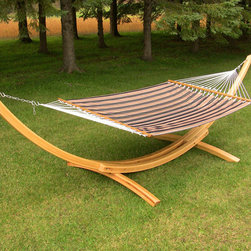 None - Manhattan Quilted Fabric Double Hammock - This comfortable quilted hammock is constructed with UV and weather resistant polyester fabric with a poly fill. This double hammock is both comfortable and attractive featuring a neutral beige and grey color palette.