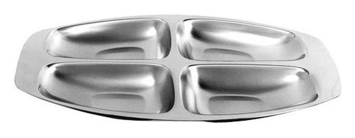 Alessi - Alessi 4-Section Hors d'Oeuvre Dish - This sleek dish for hors d'oeuvres allows you to keep cocktail hour looking and feeling classy. The gleaming 4-section tray serves as a beautiful backdrop for cheese, crackers, olives and almonds.