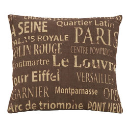 Benzara - Brown Pillow With Paris Tourist Destinations Theme - Being one of the most lovely tourist destinations in all the world, it's good advice to always keep a little bit of Paris nearby inside your home. This pillow features all the best destinations for any tourist to visit. Create a bit of warm hospitality from one of the most romantic places in all the world.