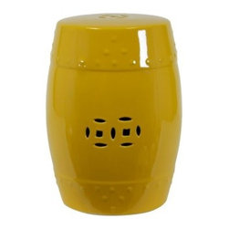 Isola Ceramic Garden Stool - Yellow - Give any setting a splash of color with the Isola Ceramic Garden Stool – Yellow. Made from a durable ceramic material, this charming accent features a glossy bright yellow glaze and a decorative cut-out pattern. Its barrel design makes it perfect for use as a stool, but can also act as a handy side table, plant stand, or sculpture piece. Use it indoors or out to add a stylish accent to your decor.