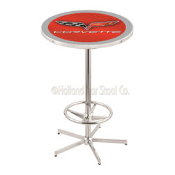 Holland Bar Stool - Holland Bar Stool L216 - 42 Inch Chrome Corvette - C6 Red Pub Table W/ Silver Ac - L216 - 42 Inch Chrome Corvette - C6 Red Pub Table W/ Silver Accent  belongs to General Motors Collection by Holland Bar Stool Made for the ultimate Corvette - C6 enthusiast, impress your buddies with this knockout from Holland Bar Stool. This L216 Corvette - C6 table with retro inspried base provides a quality piece to for your Man Cave. You can't find a higher quality logo table on the market. The plating grade steel used to build the frame ensures it will withstand the abuse of the rowdiest of friends for years to come. The structure is triple chrome plated to ensure a rich, sleek, long lasting finish. If you're finishing your bar or game room, do it right with a table from Holland Bar Stool.  Pub Table (1)