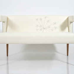 Eco First Art 3 - Settee with beautiful bird embroidery on back. The perfect addition to any elegant room. Available in 11 colors: Aegean, Waves, Coffee Bean, Sunrise, Charcoal, Sunburst, Inferno, Stone, Vapor, Cloud, and Clay. This piece is available without the embroidery.Biodegradable, natural latex rubber FSC Certified hardwood frames Organic cotton batting Renewable jute & latex webbing Non-toxic adhesives OEKO-tex certified wool fabrics that use organic dyes Renewable and sustainable Kirei grass and wheat boards Hemp & Bamboo