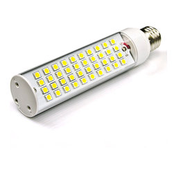 High Power 40 LED Rotatable E27 LED Bulb - E27-x40SMD-AIM series rotatable LED tube replacement bulb for traditional tubular medium screw base lamps. Light output comparable to 45~50 Watt incandescent bulbs. Consumes 8 Watts of power using 40 high power 5050 SMD LEDs. Brightest rotatable tube bulb. Available in Cool White or Warm White with 180° beam angle.