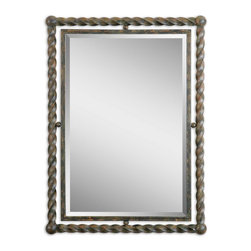 "Uttermost - Uttermost Garrick Wrought Iron Mirror - Hand forged, metal inner frame accented by a twisted, wrought iron outer frame with a heavy rust wash finish. Mirror features a generous 1 1/4"" bevel. May be hung either horizontal or vertical."