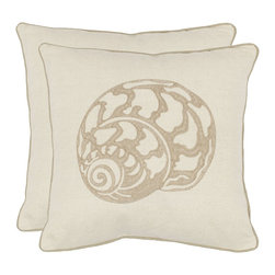 Safavieh - Safavieh PIL856A-1818-SET2 Palmer Pillow (2) - Known as the Greek Sailor's Shell, the taupe Nautilus motif adorning this cream pillow of 70% cotton and 30% linen is a natural addition to any room. Contrasting taupe piping frames this elegant design.
