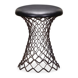 Swish Stool - Beautiful, unique design, combined with durable metal construction, makes this stool a functional piece of art. Too sexy an item to keep stowed under a table, the Swish Stool has metal construction and a leatherette-upholstered seat.