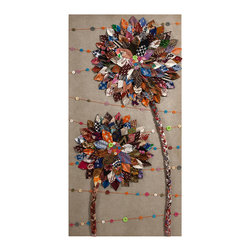 iMax - Rylance Batik Button Wall Decor - Featuring a unique repurposed technique, the Rylance batik button wall decor uses fabric scraps collections to create truly original art.
