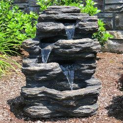 "Harmony Fountains - 24"" Rock Waterfall Fountain w/ LED Lights -"