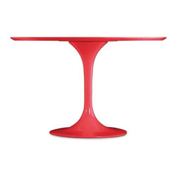 Zuo Modern - Zuo Wilco Dining Table in Red - Dining Table in Red belongs to Wilco Collection by Zuo Modern The Wilco table echoes some of the great Mid-century design with its tulip base and bevel edge round top. Its top is glossy painted MDF and its base is glossy coated fiberglass. Dining Table (1)