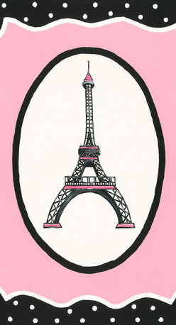 Sherri Blum, Jack and Jill Interiors, Inc. - Oui Paris Eiffel Tower Canvas Wall Art, Pink Black Nursery Decor, 18x24 - Seeking french theme nursery art or decor for your little girl who loves Paris? Take you and your little one to France's most adored icon with Sherri Blum's whimsical wall art for children in pink surrounded by black and white polka dots. Indulge in chic kids' wall decor for your little bambin, creating the perfect Parisian presence.