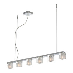 ET2 Lighting - Blocs 6-Light Linear Pendant - Going a little lighter at mealtime takes on a whole new meaning when your dining table is lit with this modern, slimmed down version of the classic candelabra. Six cubes of light line up on a highly polished strip of chrome for a more enlightened and elegant view of dinner.