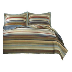 Pem America - Retro Stripe Natural Quilt Set, Queen - Retro Stripe Natural is a yarn dyed casual pattern that brings a casual look to any room. This pattern brings color and detail to you bedroom and keeps the casual comfort you want.